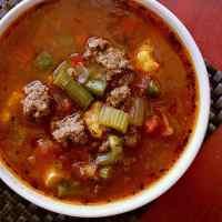 Bowl of low carb hamburger soup.