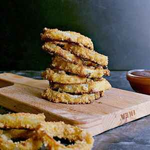 stack of low carb onion rings.