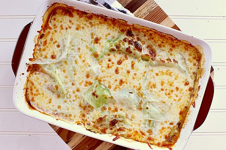 Freshly baked cabbage lasagna.