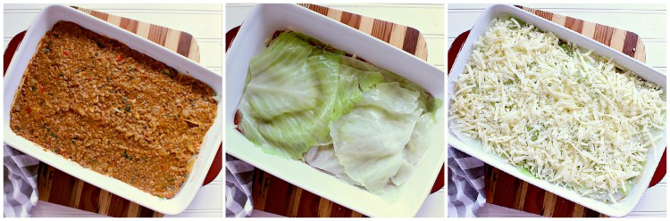 Process collage of layering the cabbage lasagna.
