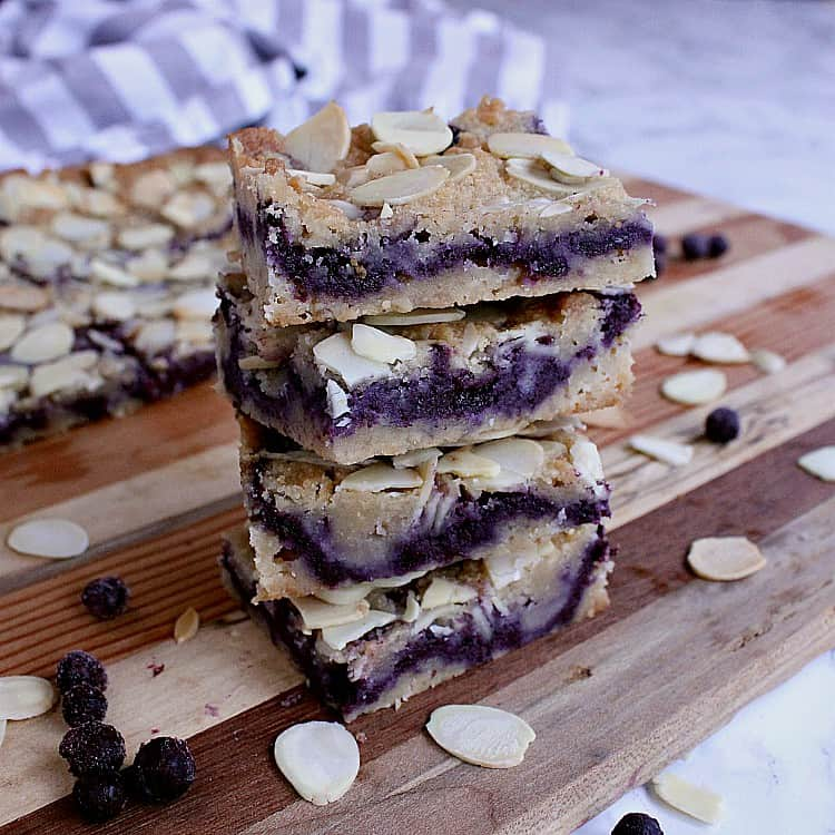 Stack of keto blueberry bars.