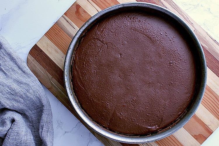 Freshly baked keto chocolate cheesecake.