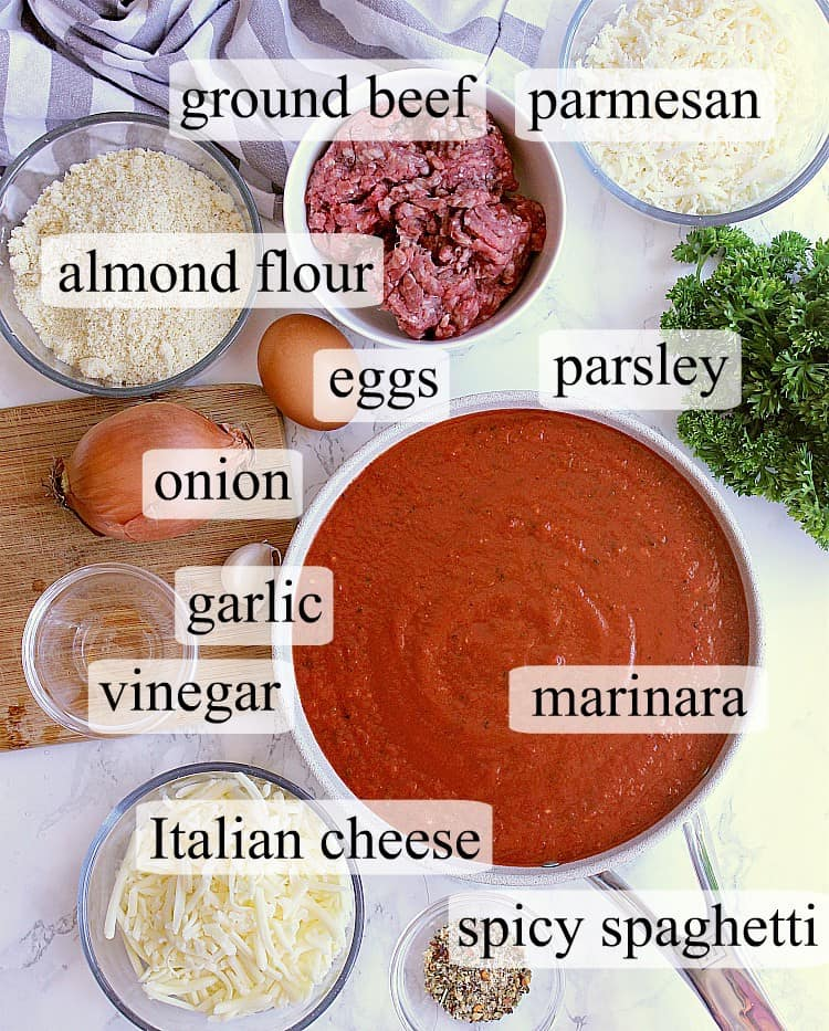 A visual list of major ingredients needed to make keto meatball subs.