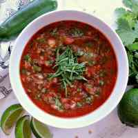 Bowl of keto salsa garnished with cilantro.