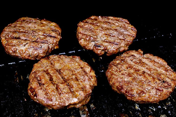 All four Keto Burgers hot on the grill.