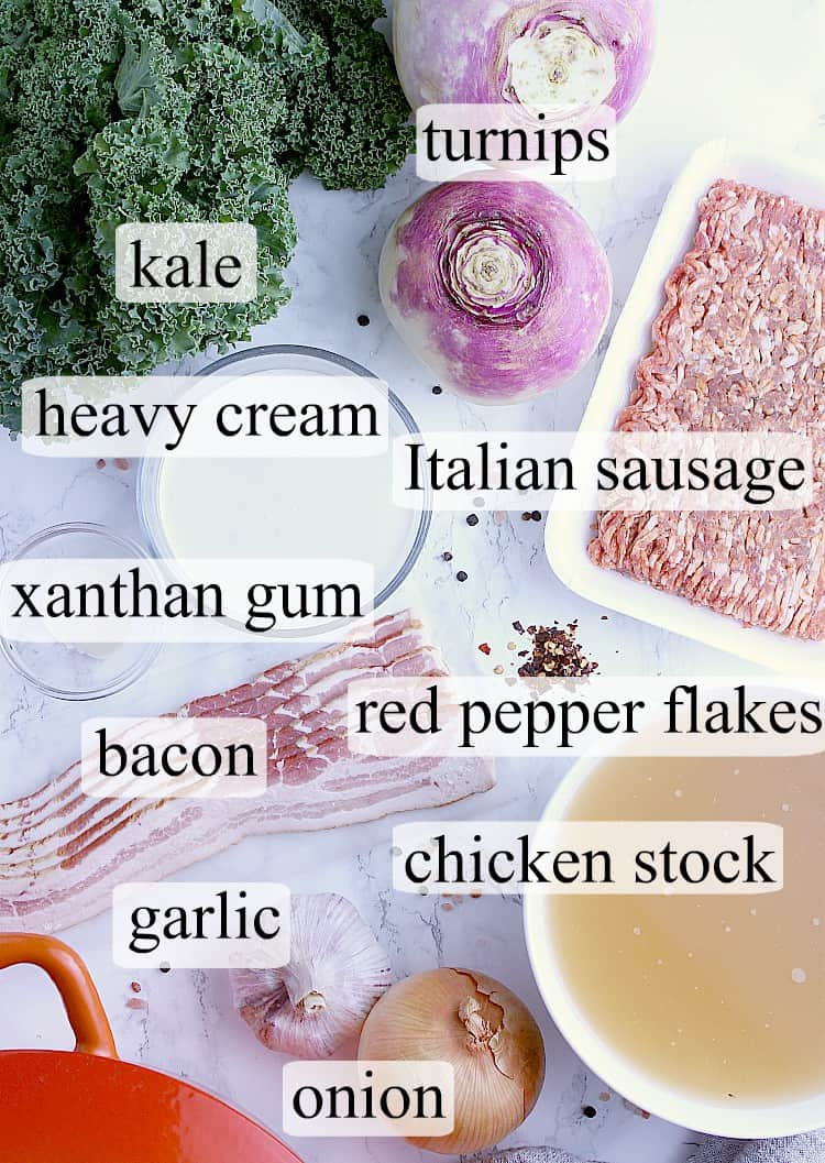 All ingredients used to make this Keto Zuppa Toscana.