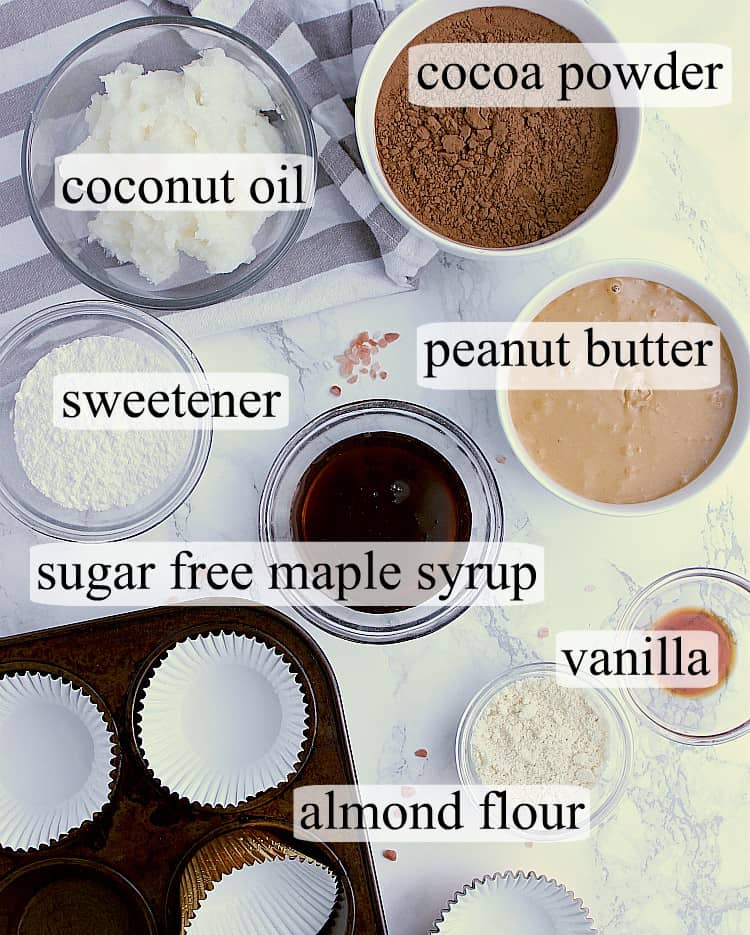 All ingredients used to make Keto Peanut Butter Cups.
