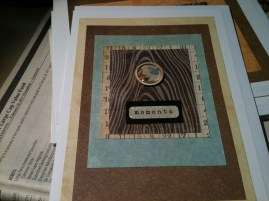 Blue card with Wood grain accent and 'Moments' and Butterfly stickers
