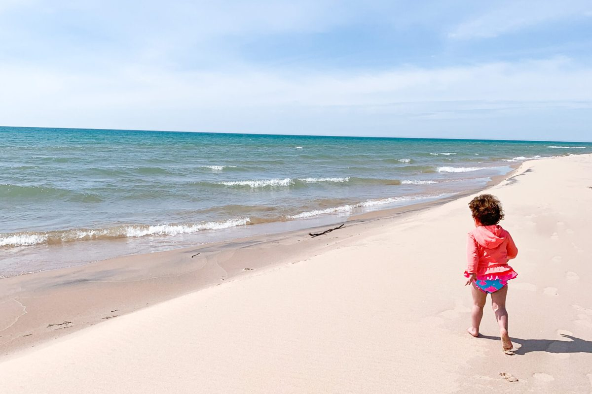 Toddler at the beach, summer time, Shelby Michigan, tips for positive mindset