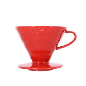 Пластиковая красная воронка для приготовления кофе Hario V60