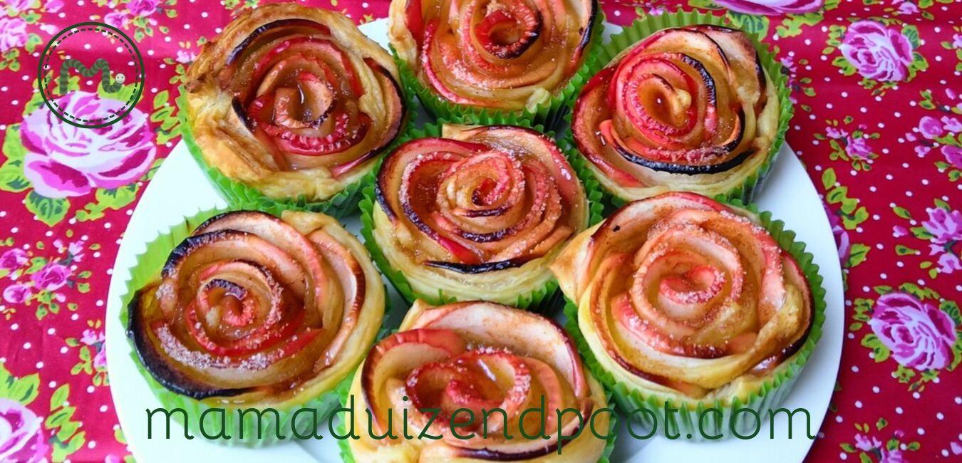 Appeltaartjes in de vorm van roosjes