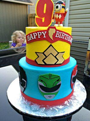 bolo de aniversário Power Rangers fake