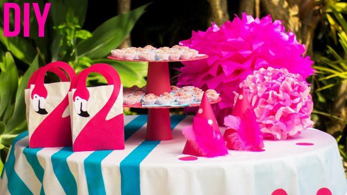 decoração de mesa flamingo
