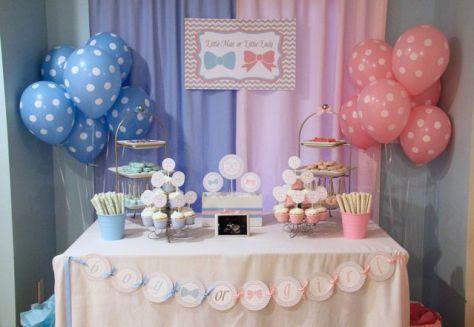 Decoração azul e rosa, um clássico para o Chá de Revelação. Fonte: Catch my Party