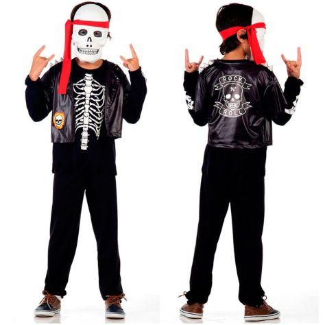 Fantasia de Halloween: caveira rockeira