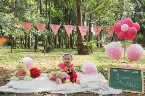 Ensaio fotográfico com cenário e bebê