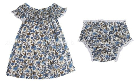 Vestido e calcinha floral para enxoval de bebê floral
