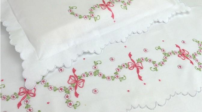 Jogo de lençol de berço para enxoval de bebê floral