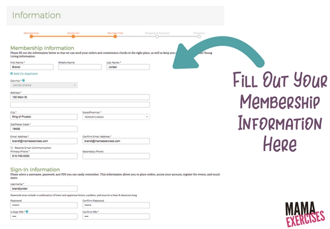 Step 4 Fill Out Membership Information when ordering a Young Living Premium Starter Kit - MamaExercises.com