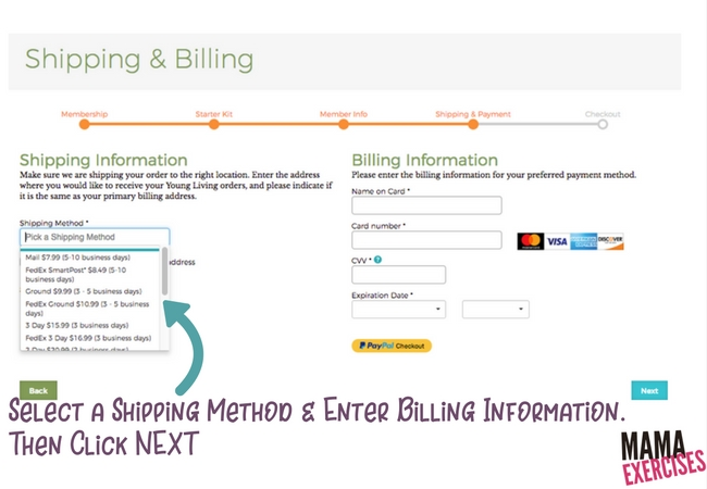 Step 5 Select Shipping & Enter Billing Info when ordering a Young Living Premium Starter Kit