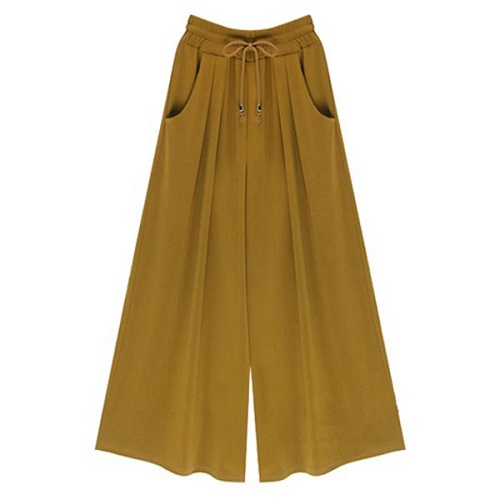 Chic High-Waisted Pocket Design Plus Size Women's Wide Leg Pants
