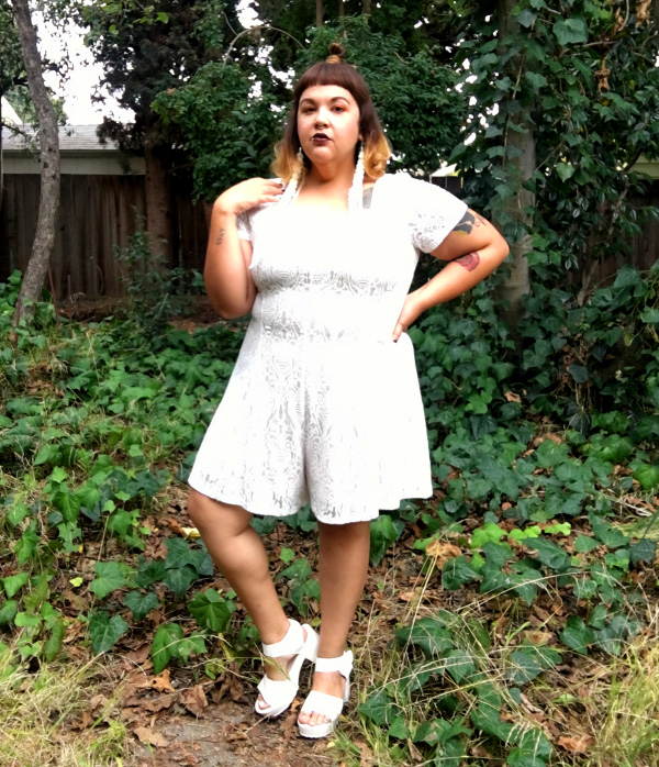 Forever 21 plus size white lace romper