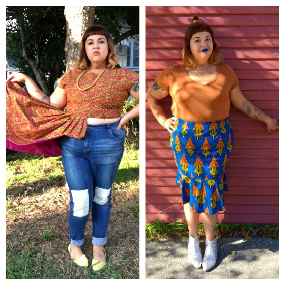 Lola's African Apparel crop top and pencil skirt