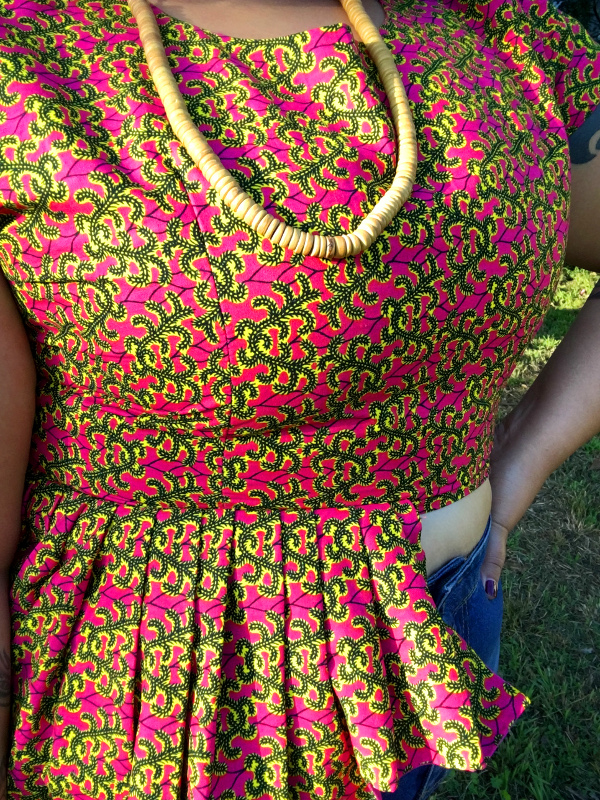 African print peplum crop top