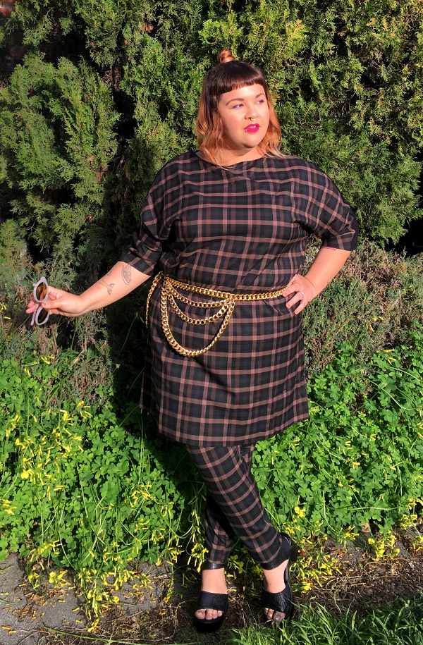 Elvi plus size plaid dress and pants