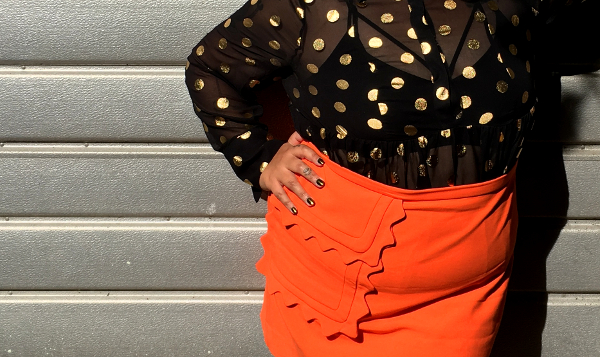 Victoria Beckham plus size orange skirt