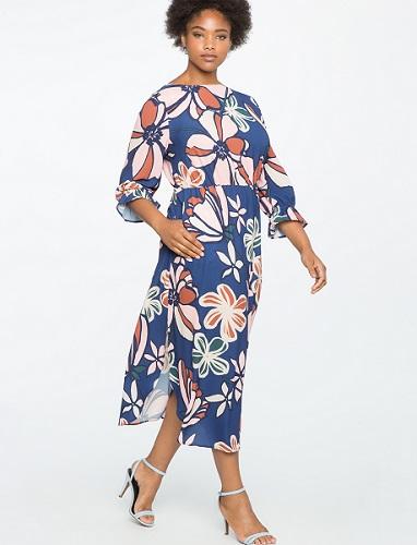 Printed Full Sleeve Maxi Dress