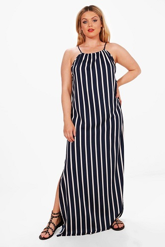 """Plus Frankie Stripe Tie Front Maxi Dress """