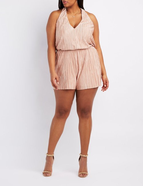 Plus Size Micro Pleated Plunging Romper