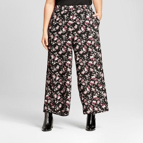 Plus Size Floral Print Woven Pants