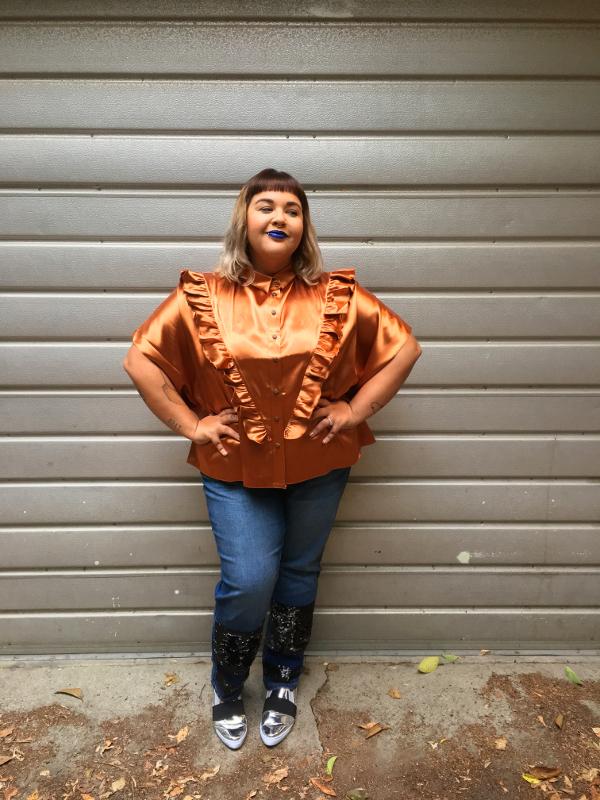 Plus size satin blouse