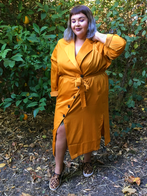 Plus size satin robe dress
