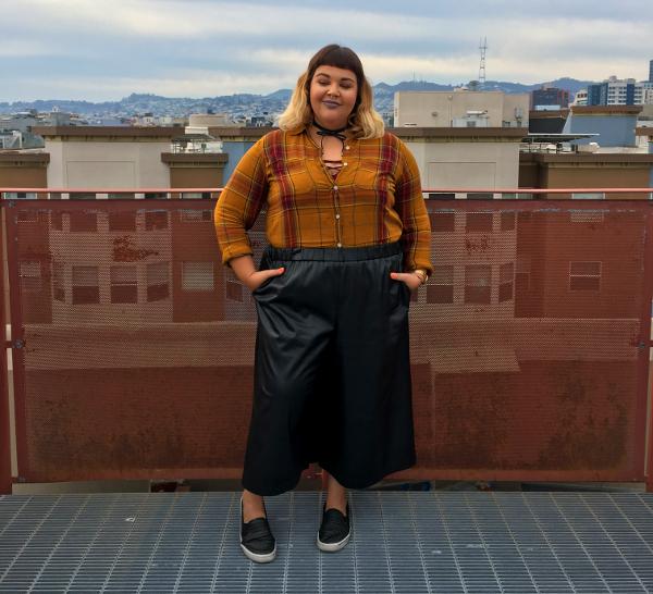 Plus size leather gaucho pants