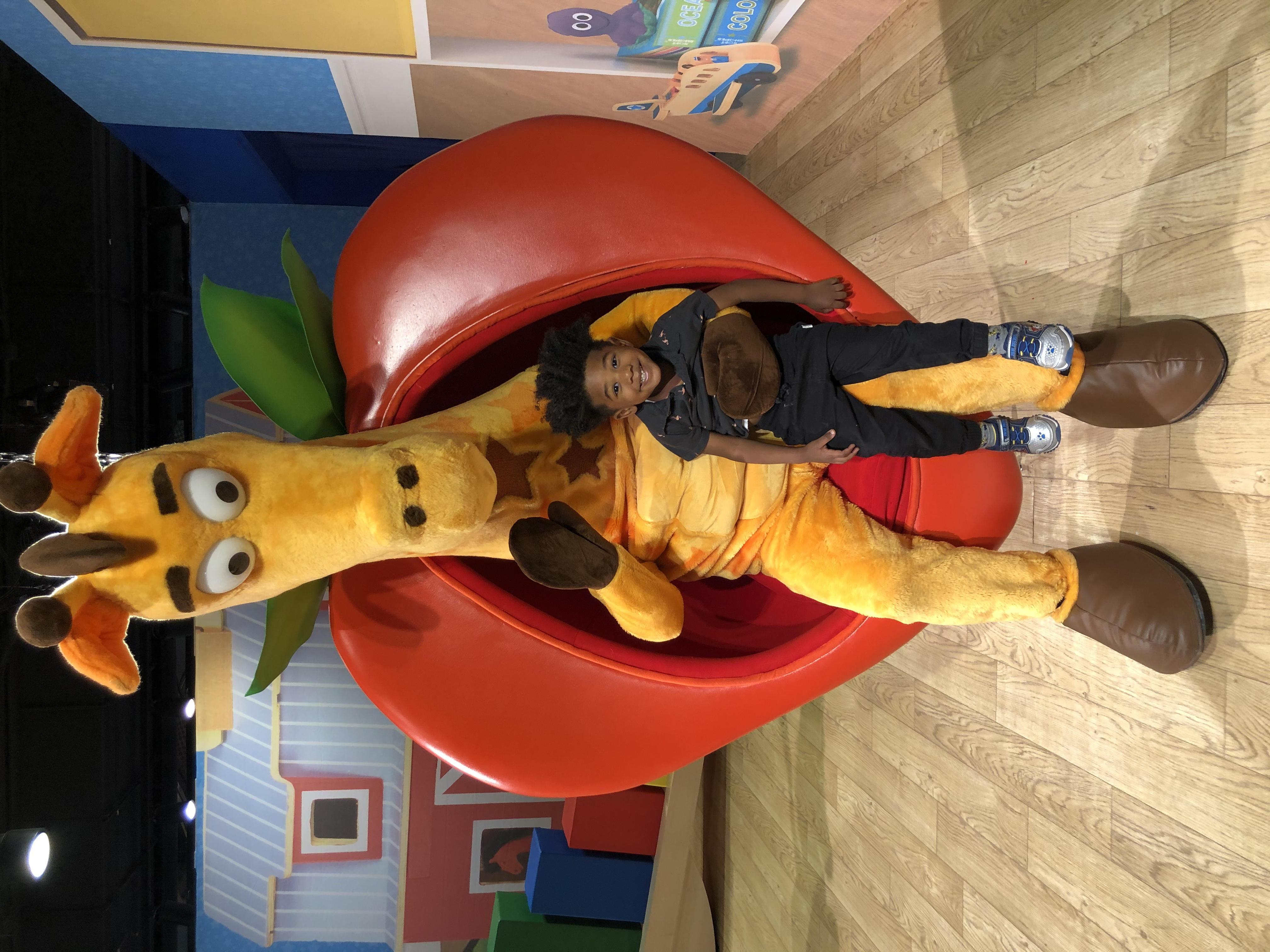 My son with Geoffrey the Giraffe and my son