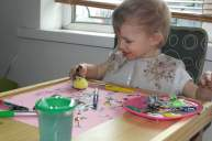 Using a fluffy ball to paint