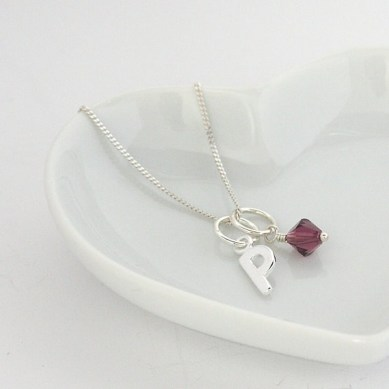 Personalised Initial and Birthstone Necklace