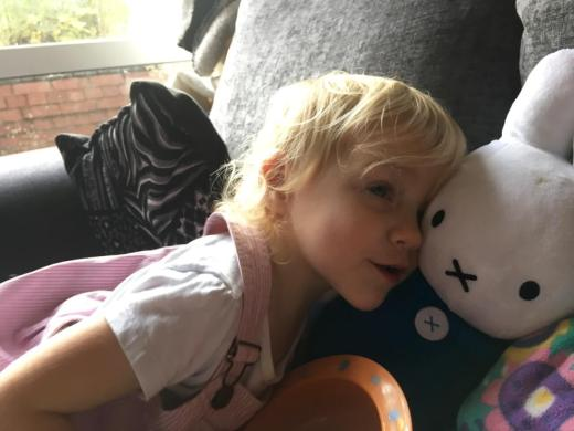 Lydia with her Miffy Sensory Toy