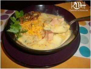Ham, Potato, Corn & Cheese Chowder with Fried Shallots