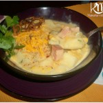 Ham, Potato, Corn & Cheese Chowder with Fried Shallots