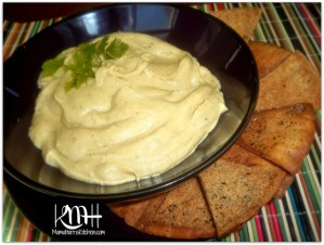 Roasted Garlic Hummus and Homemade Seasoned Pita Chips