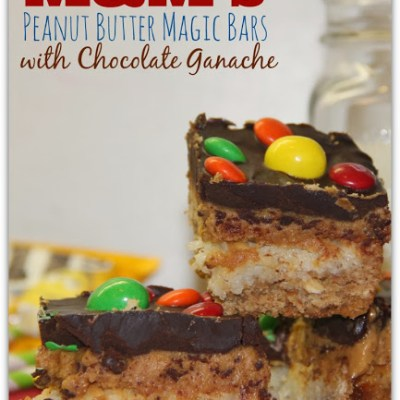 M&M's Peanut Butter Magic Bars with Chocolate Ganache
