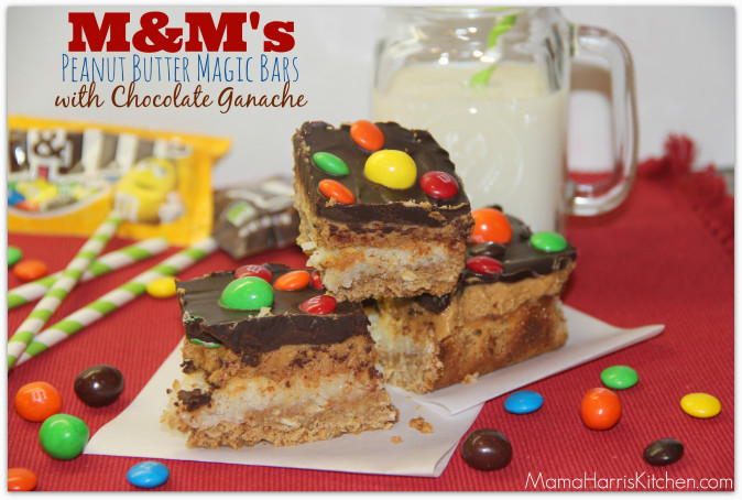 #bakingideas M and M Peanut Butter Magic Bars with Chocolate Ganache #shop #cbias 22.1
