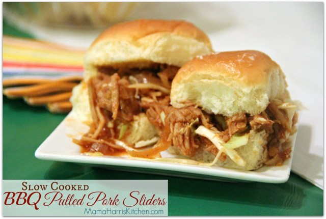 """Slow Cooked BBQ Pulled Pork Sliders, perfect for the Big Day! Part of Mama Harris' Kitchen 3 """"Must-Have"""" Foods for the Big Game!"""