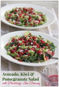 Avocado, Kiwi & Pomegranate Salad with Blackberry-Lime Dressing