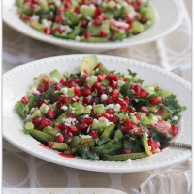 Avocado, Kiwi & Pomegranate Salad with Blackberry-Lime Dressing