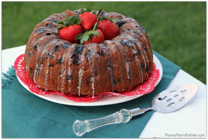 Berry Overload Bundt Cake with Vanilla Bean Glaze